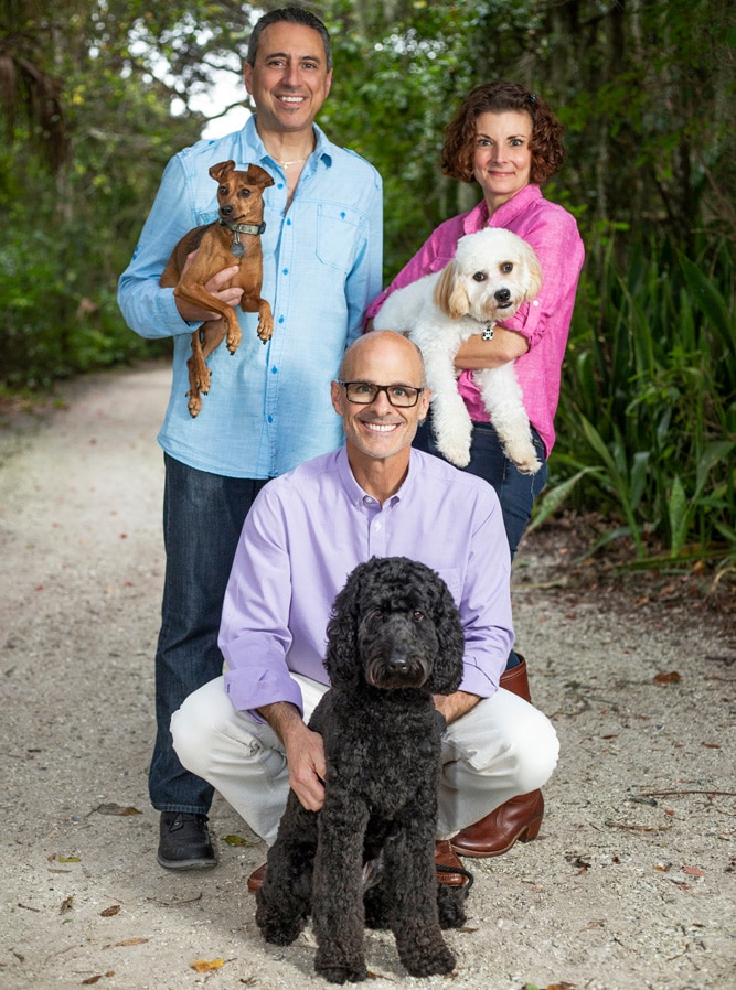 Kevin Geisler (and Rio), Rachel McGinnis (and Riptide), Patrick McGinnis (and Jasper)